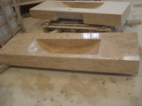 yellow travertine sink