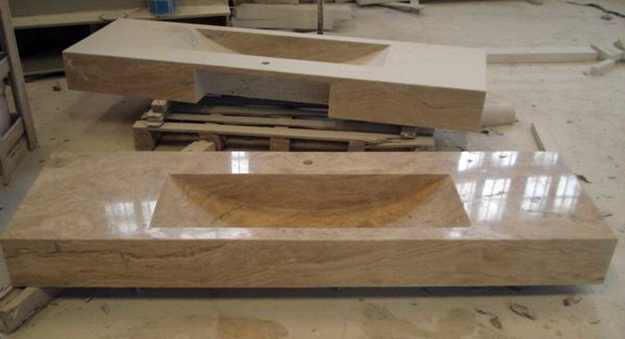 yellow travertine vanity